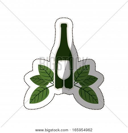 silhouette bottle wine and goblet with leaves vector illustration
