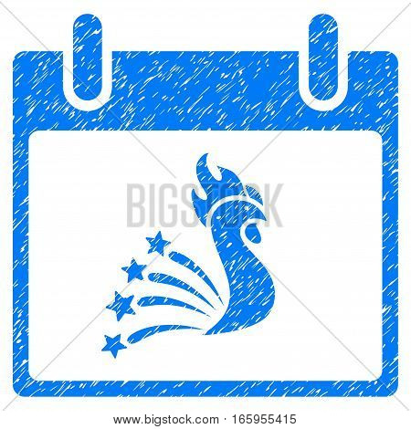 Festive Rooster Calendar Day grainy textured icon for overlay watermark stamps. Flat symbol with scratched texture. Dotted vector blue ink rubber seal stamp with grunge design on a white background.