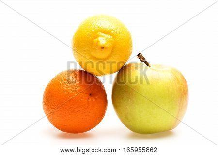Grapefruit, Lemon And Apple Fruit Isolated On White