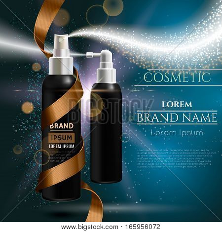 Cosmetic spray bottle with gold ribbon and spark effects. Vector illustration.