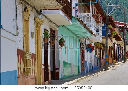 September 30, 2016 El Jardin, Colombia: colourful colonial architecture in the small highland coffee producing town