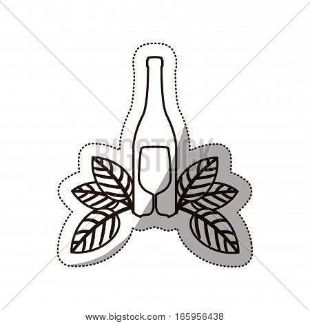 sticker medium shade of bottle wine and goblet vector illustration