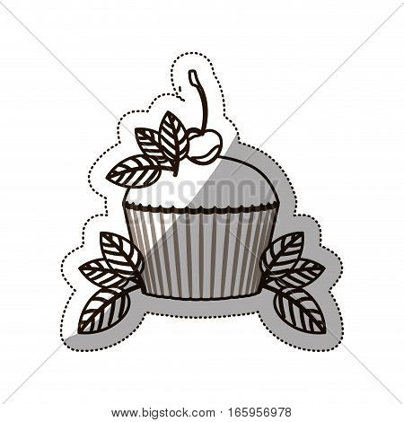 sticker medium shade of cupcake vector illustration