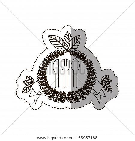 sticker medium shade of crown of leaves with silverware vector illustration