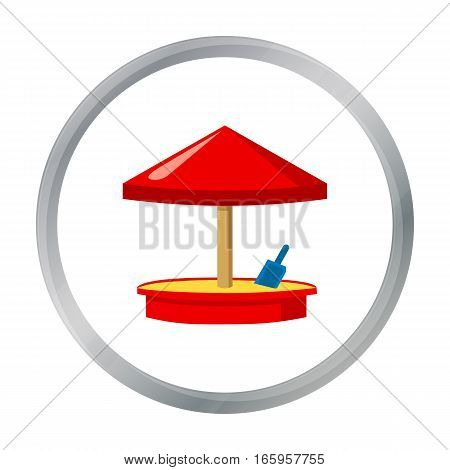Sandbox icon in cartoon style isolated on white background. Play garden symbol vector illustration.