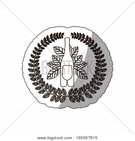 sticker medium shade of arch of leaves with bottle goblet vector illustration