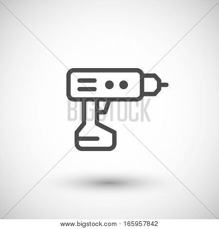 Electric screwdriver line icon isolated on grey. Vector illustration