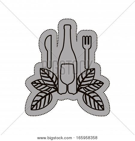 sticker shading of bottle wine and goblet with cutlery vector illustration