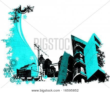 winter illustration of an industrial site poster