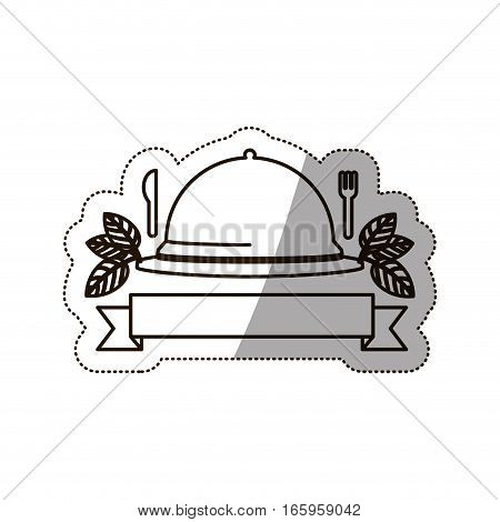 sticker medium shade of tableware cover vector illustration
