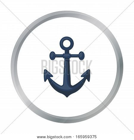 Anchor icon in cartoon style isolated on white background. Pirates symbol vector illustration.