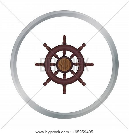 Wooden ship steering wheel icon in cartoon style isolated on white background. Pirates symbol vector illustration.