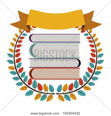 colorful olive crown with ribbon and school books vector illustration