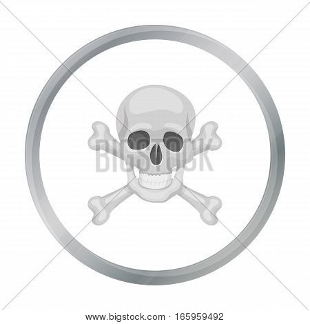 Pirate skull and crossbones icon in cartoon style isolated on white background. Pirates symbol vector illustration.