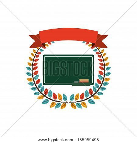 colorful olive crown with ribbon and school slate vector illustration