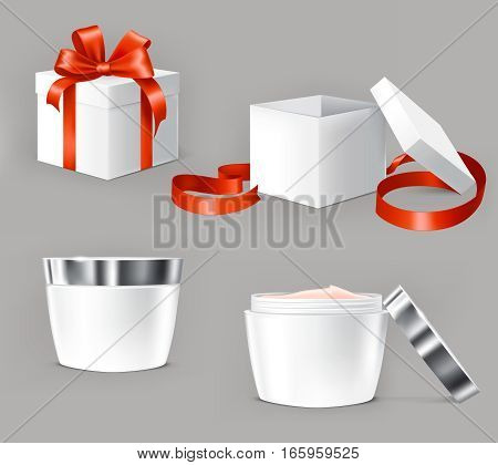 set of illustrations for cosmetics containers. Cream bottles made of transparent glass.