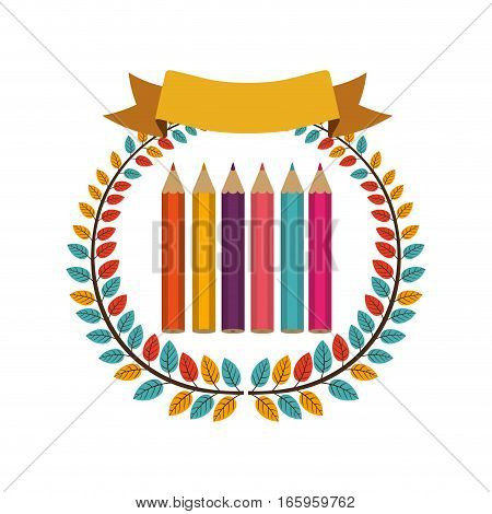 colorful olive crown with ribbon and colored pencils vector illustration