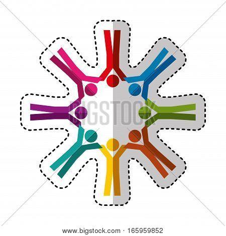 people silhouette teamwork emblem vector illustration design