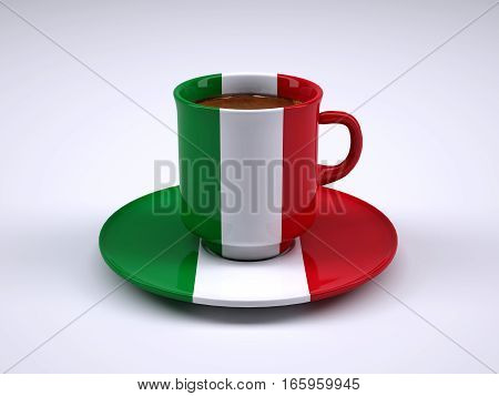 Coffee Cup With Italy Flag