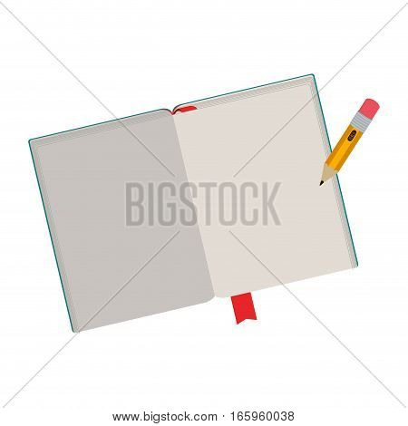 colorful notebook and pencil with ribbon vector illustration