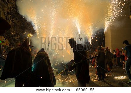 BarcelonaSpain Aug 21: Fireworks in Gracia Barcelona's district during the traditional fire run.