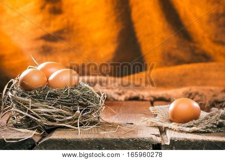 Fresh chicken eggs in natural birds nest. One egg is lying separately on the wood table