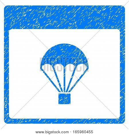 Parachute Calendar Page grainy textured icon for overlay watermark stamps. Flat symbol with scratched texture. Dotted vector blue ink rubber seal stamp with grunge design on a white background.