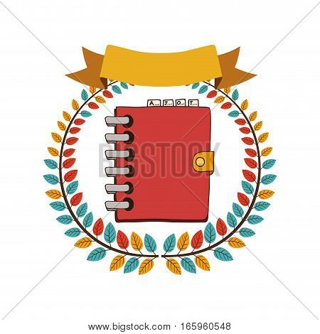 colorful olive crown with ribbon and spiral phonebook vector illustration