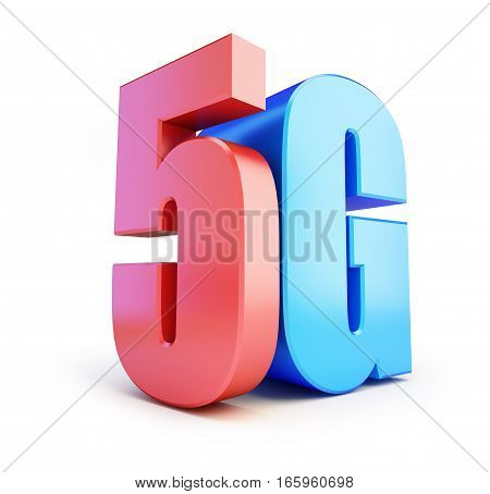 5G sign 5G cellular high speed data wireless connection. 3d Illustrations on white background