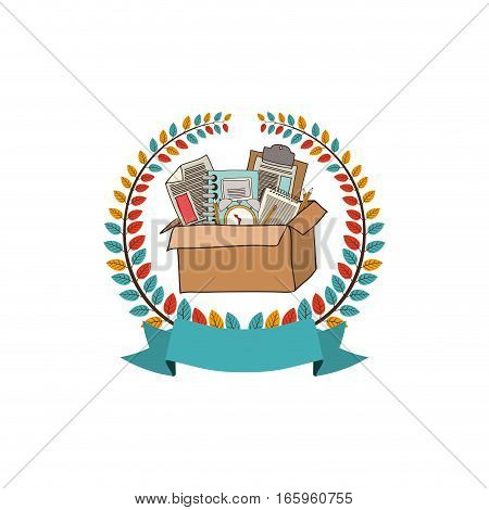 colorful olive crown with ribbon and box with school supplies vector illustration