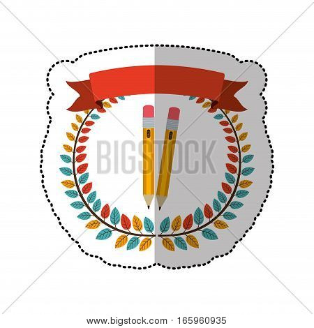 middle shadow sticker with colorful olive crown with ribbon and two pencils vector illustration