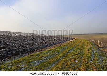 icy plow soil beside a footpath in a cold yorkshire wolds landscape with hills and hedgerows under a blue cloudy sky in winter