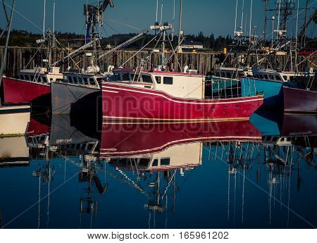 Lobster fishing boats in a harbour in  Nova Scotia