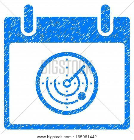 Radar Calendar Day grainy textured icon for overlay watermark stamps. Flat symbol with scratched texture. Dotted vector blue ink rubber seal stamp with grunge design on a white background.