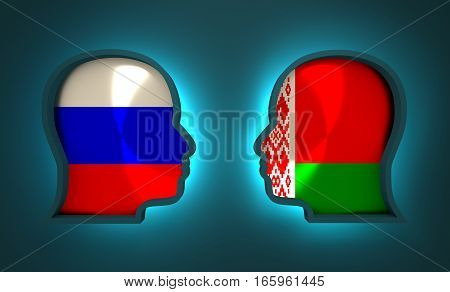 Image relative to politic and economic relationship between Russia and Belarus. National flags inside the heads of the businessmen. Teamwork concept. 3D rendering. Neon light