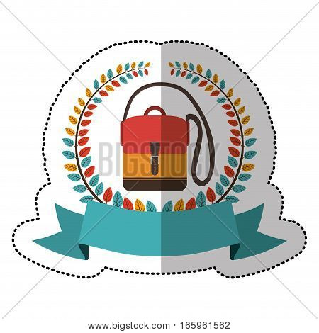 middle shadow sticker with colorful olive crown with ribbon and hands free briefcase vector illustration