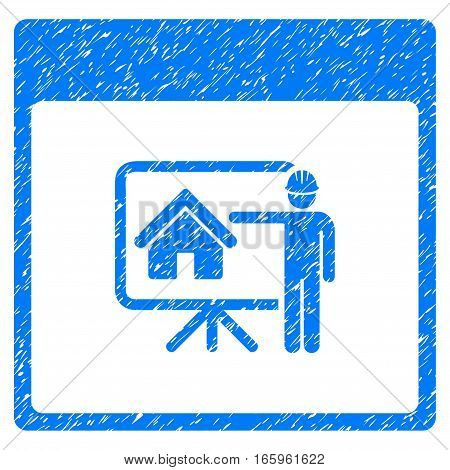 Realty Developer Calendar Page grainy textured icon for overlay watermark stamps. Flat symbol with dirty texture. Dotted vector blue ink rubber seal stamp with grunge design on a white background.