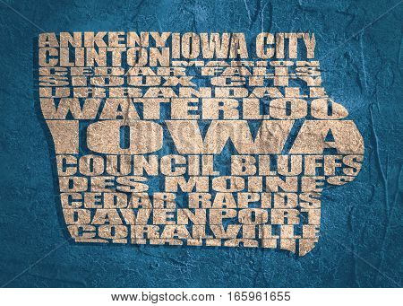 Word cloud map of Iowa state. Cities list collage. Grunge texture