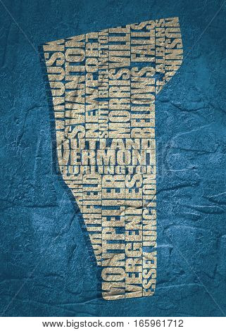 Word cloud map of Vermont state. Cities list collage. Grunge texture
