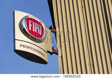 Prague, Czech Republic - January 20: Fiat Group Company Logo On Czech Dealership Building On January