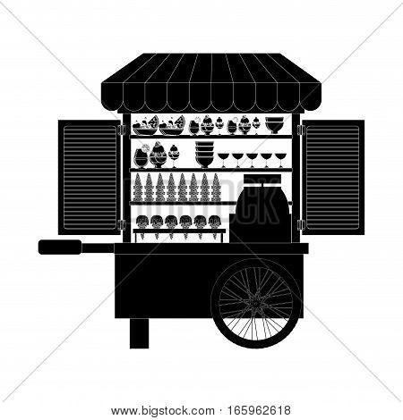 monochrome silhouette with ice cream bike vector illustration