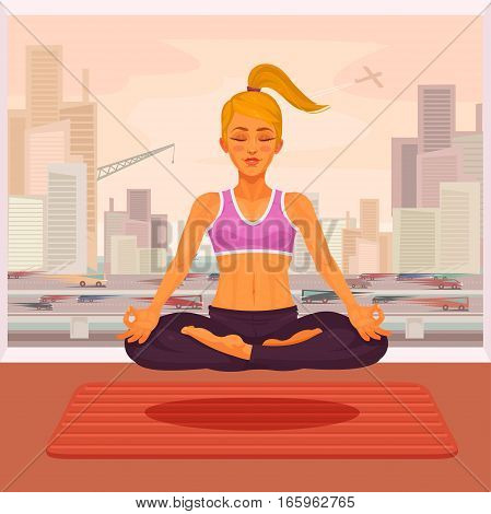 illustration of a girl yoga in the lotus position. The girl is engaged in yoga outdoors.