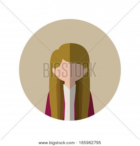 circle with half body woman with long hair blonde and middle shadow vector illustration
