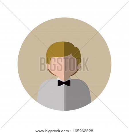 circle with half body man with blonde hair and bow tie and middle shadow vector illustration