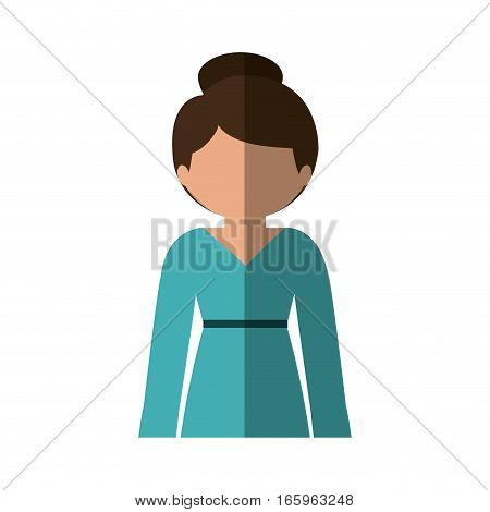half body woman in dress with collected hair and middle shadow vector illustration