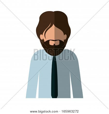 half body man with beard and tie and middle shadow vector illustration