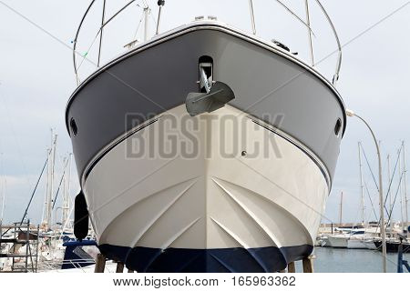 boat is in dry dock front view