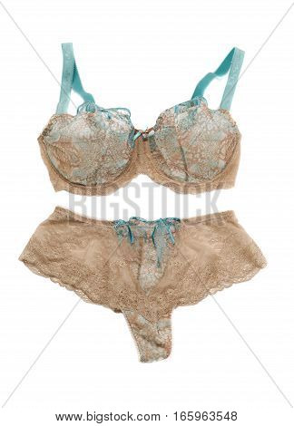Beige set of lingerie isolate on a white background