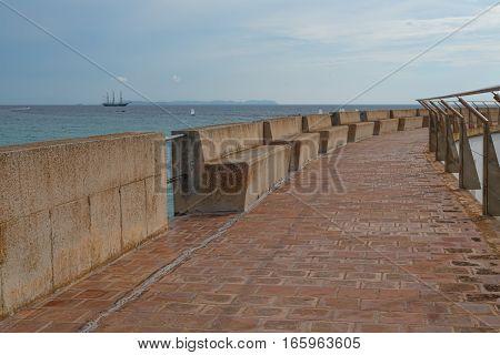 Pier with handrails promenade landscape  seaside seascape