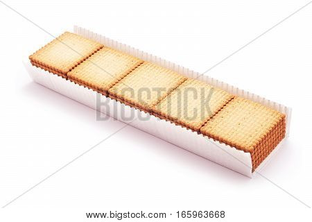 butter cracker biscuits pack isolated closeup detail